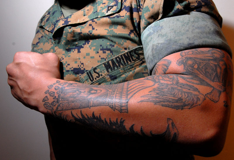 Combat vets say tattoo policy is big barrier to re enlistment for Usmc sleeve tattoo ideas