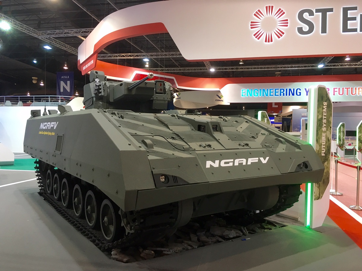 ST Kinetics displayed its next-generation armored fighting vehicle, which forms the basis of its offering for the U.S. Army's Mobile Protected Firepower program. The company is partnering with SAIC. (Mike Yeo/Staff)