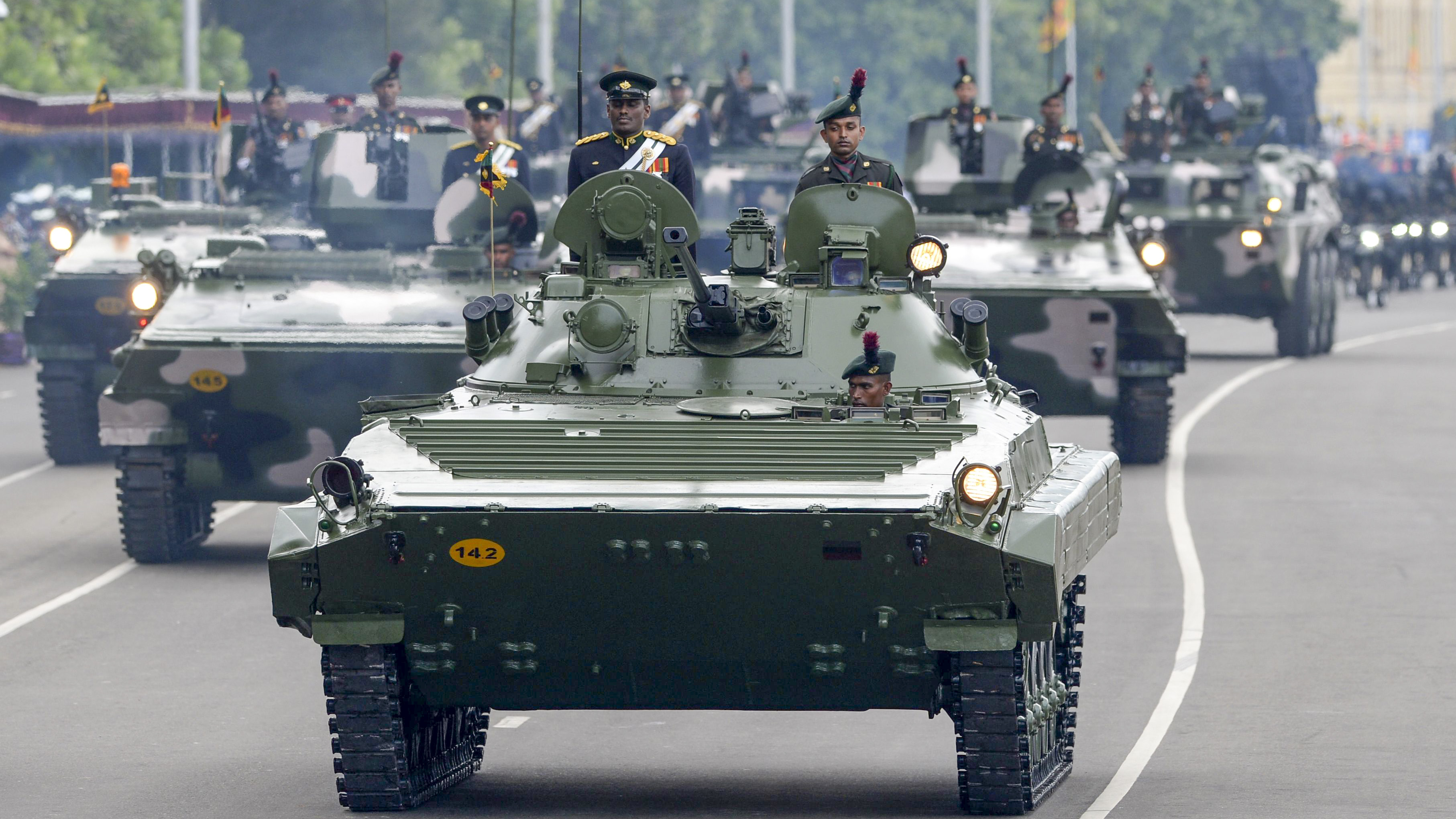Sri Lankan Army tanks parade during the island's 71st Independence Day celebrations in Colombo on February 4, 2019. - Sri Lanka is marking the 71st anniversary of independence from Britain on February 4. (LAKRUWAN WANNIARACHCHI/AFP/Getty Images)