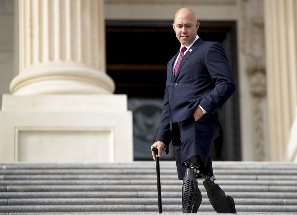 Rep. Brian Mast, R-Fla., went on Fox News to complain that he had been told to clean out his satellite congressional office at the West Palm Beach VA Medical Center by December. (Andrew Harnik/AP)