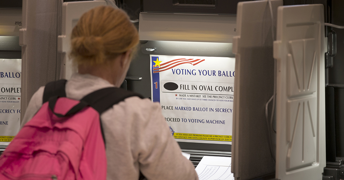 A voter marks her ballot at the Leon County Courthouse on Nov. 8, 2016 in Tallahassee, Florida. Florida Gov. Rick Scott tasked state employees with applying for a federal grant to help states beef up election security, before the November 2018 election. (Mark Wallheiser/Getty Images)