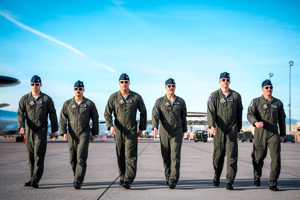 Maj. Stephen Del Bagno, third from left, and his fellow Thunderbird pilots march to their F-16s during a practice show at Nellis Air Force Base in Nevada, March 14. (Master Sgt. Christopher Boitz/Air Force)
