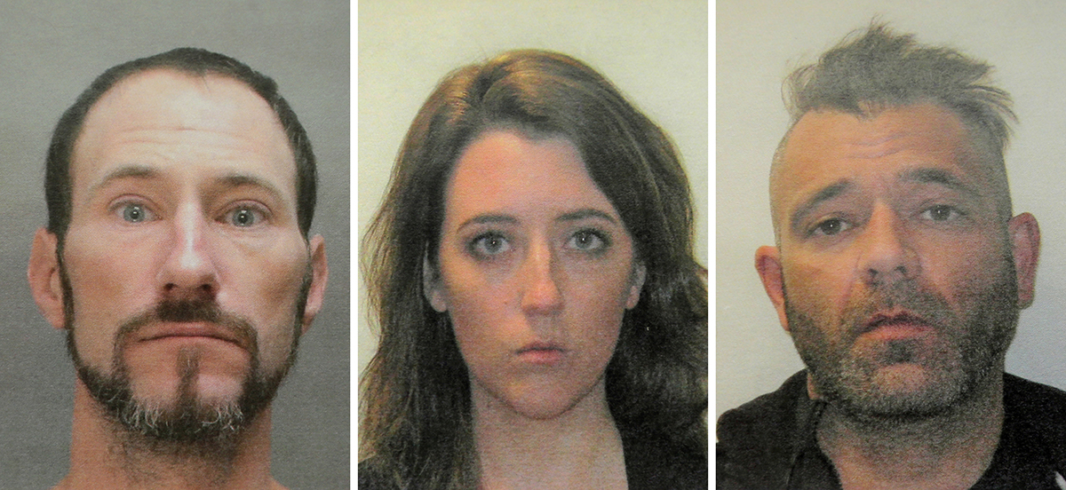 This November 2018 file combination of photos provided by the Burlington County Prosecutors office shows, from left, Johnny Bobbitt, Katelyn McClure and Mark D'Amico. (Burlington County Prosecutors Office via AP, File)