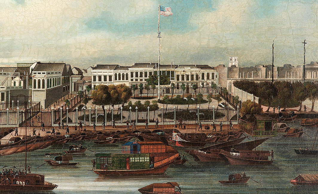 Painting of the French and United States hongs (factories) at Canton with the river in the foreground. The factories are identified by the flags flying in the forecourts; the American flag, the French flag and the British Red Ensign are all present. There is a large formal garden in front of the American factory. Chinese sampans are moored in front of the factories. (The Australian National Maritime Museum)