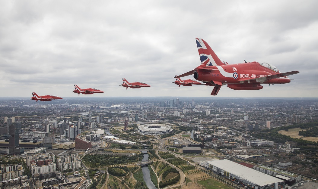 The Royal Air Force aerobatic team joins the nearly 100 other planes in marking a century of RAF service. (British Ministry of Defence via Getty Images)