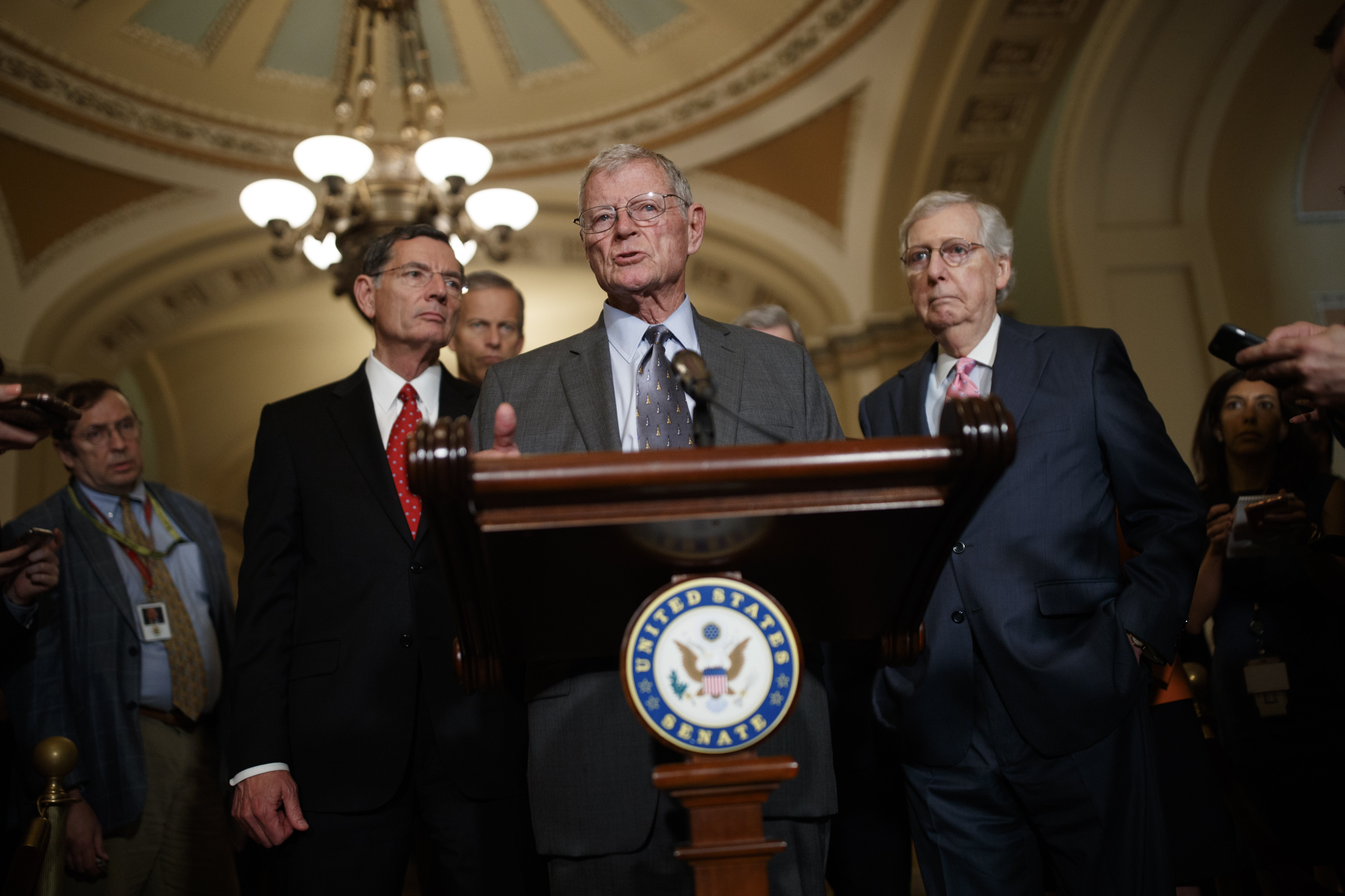 WASHINGTON, DC - JUNE 25: Senator Jim Inhofe, R-Okla., delivers remarks about the 2020 National Defense Authorization Act during the Weekly Senate Policy Luncheon Press Conferences on June 25, 2019 on Capitol Hill in Washington, DC. (Photo by Tom Brenner/Getty Images)