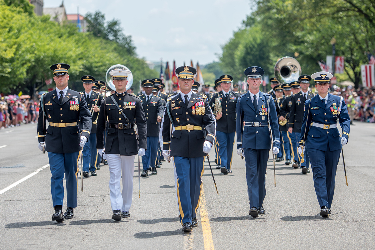 Soldiers assigned to the 3d U.S. Infantry Regiment (The Old Guard), participate in the National Independence Day Parade in Washington on July 4, 2019. (Sgt. Nicholas T. Holmes/Army)