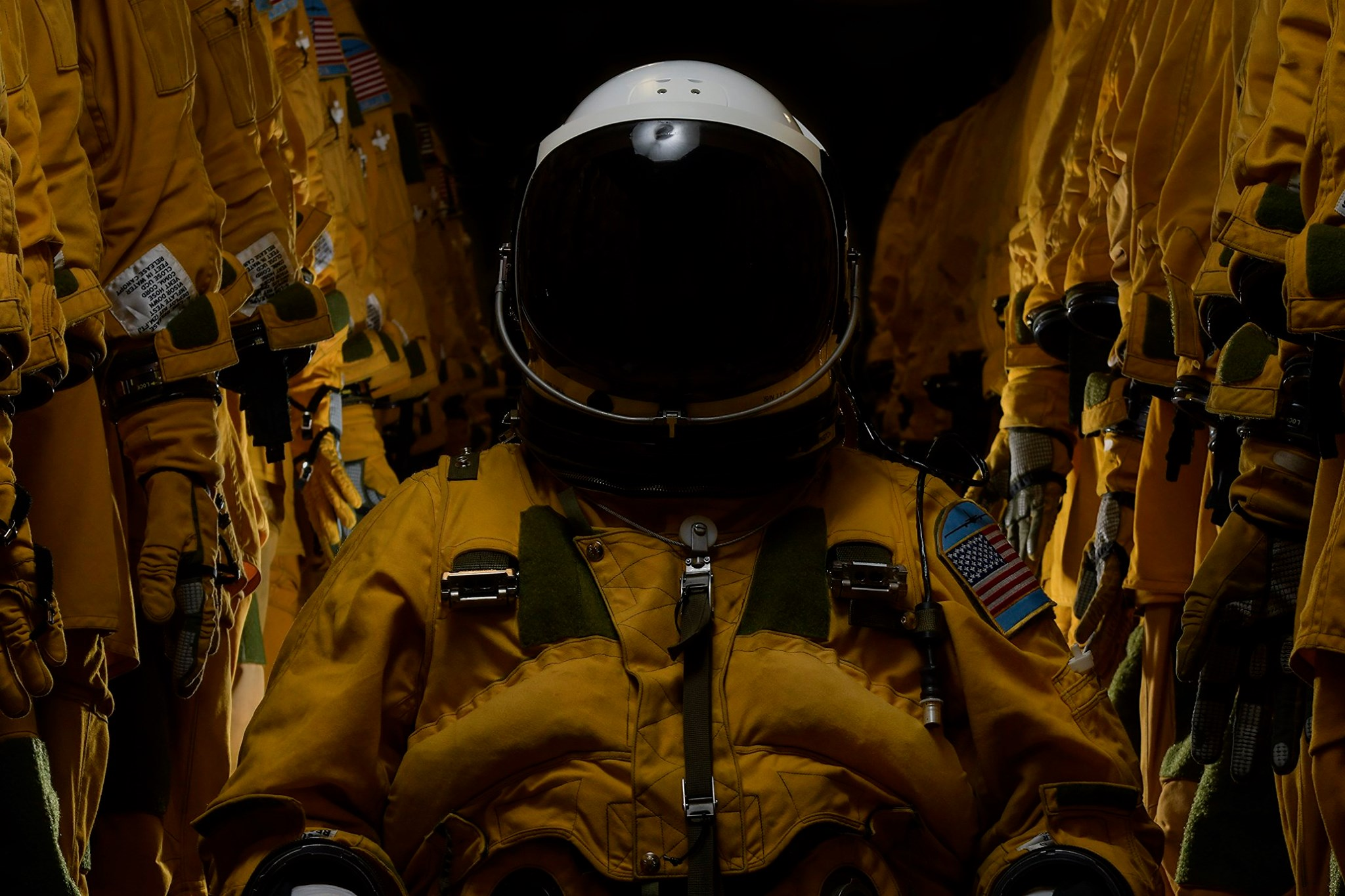 A U-2 Dragon Lady pilot poses for a portrait inside a pressure suit at Beale Air Force Base, Calif., Oct. 31, 2019. Pilots who fly into the rim of the atmosphere require a specialized and custom-fit suit to keep them at a normal altitude in extreme elevations. (Tech. Sgt. Alexandre Montes/Air Force)