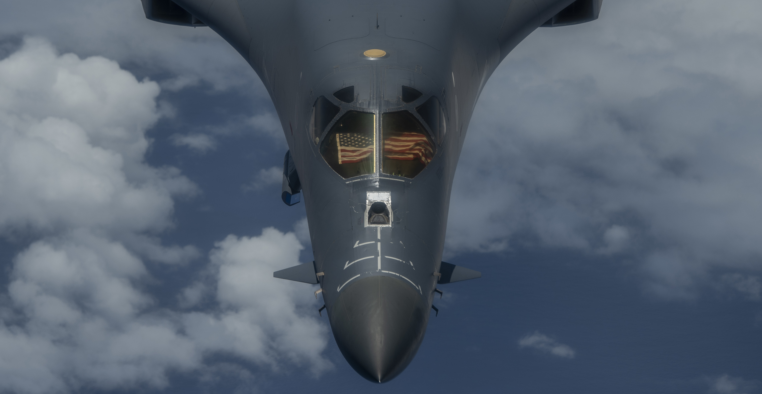 A 9th Expeditionary Bomb Squadron B-1B Lancer flies over the East China Sea May 6, 2020, during a training mission. (Senior Airman River Bruce/Air Force)