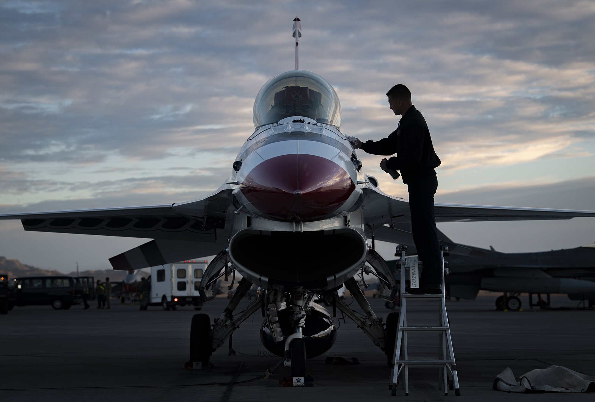 Staff Sgt. Connor Stowers, an avionics systems technician assigned to the United States Air Force Air Demonstration Squadron