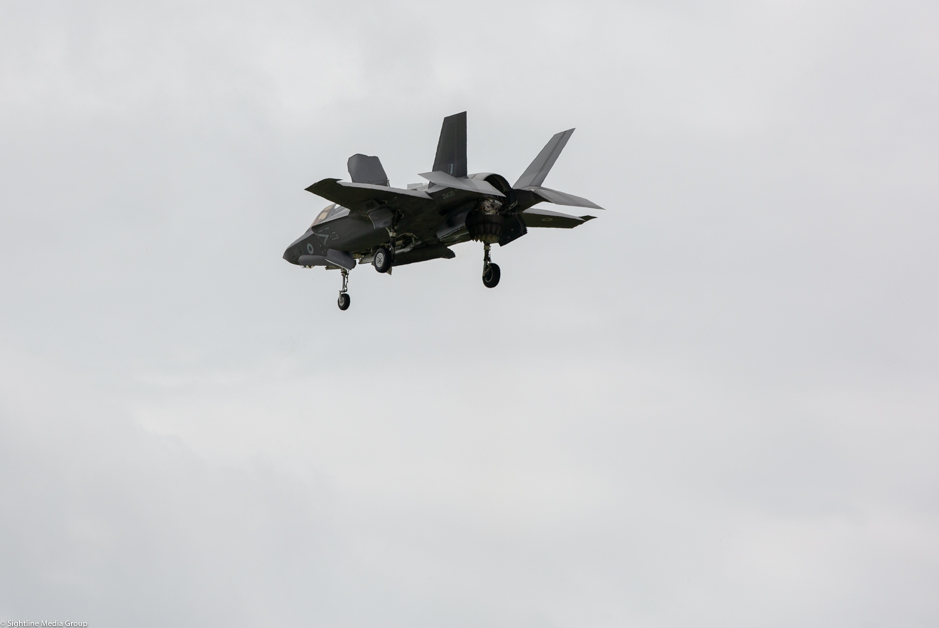 An RAF F-35B makes a vertical landing at MCAS Beaufort in South Carolina after a training flight. (Jeff Martin/Staff)