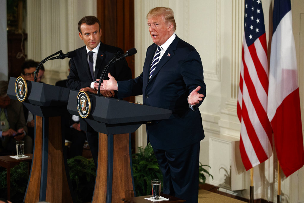 President Donald Trump speaks during a news conference with French President Emmanuel Macron in the East Room of the White House, Tuesday, April 24, 2018, in Washington. (Evan Vucci/AP)