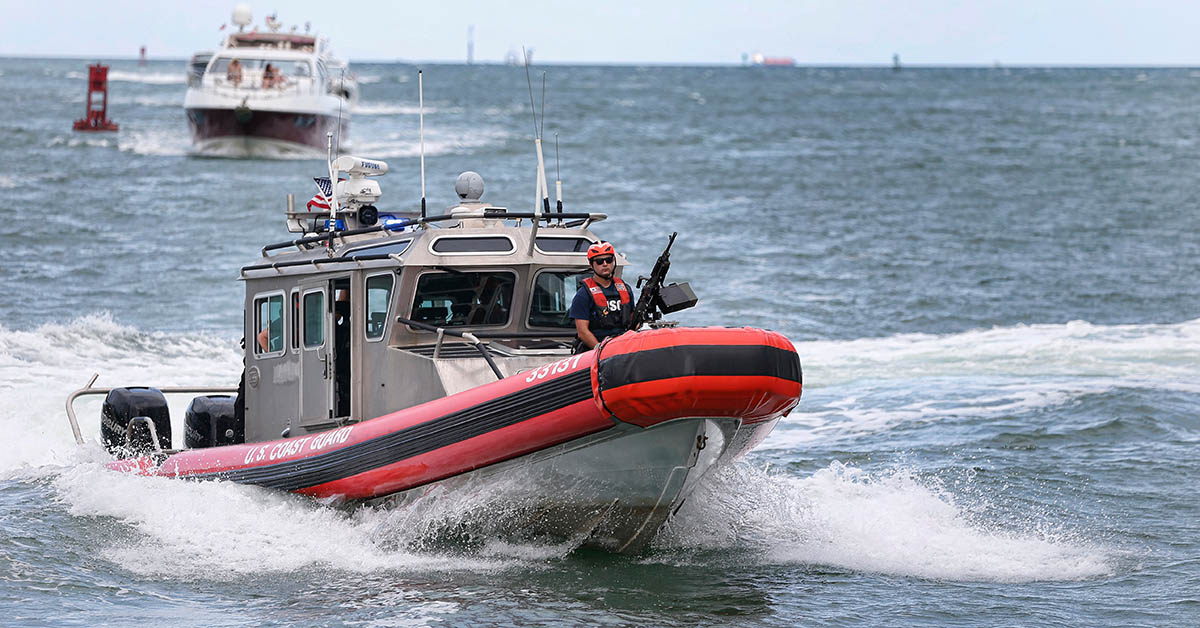 A Coast Guard vessel patrols in the Miami harbor entrance known as Government Cut in Miami, Florida June 2, 2018. (RHONA WISE/AFP/Getty Images)