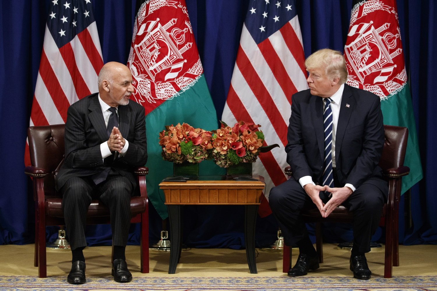 President Donald Trump meets with Afghan President Ashraf Ghani at the Palace Hotel during the United Nations General Assembly, Thursday, Sept. 21, 2017, in New York. (Evan Vucci/AP)
