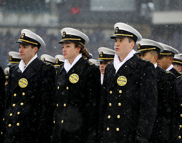Naval Academy midshipmen stand in position on the field duirng Saturday's pregame events at Philadelphia's Lincoln Financial Field. (Elsa/Getty Images)