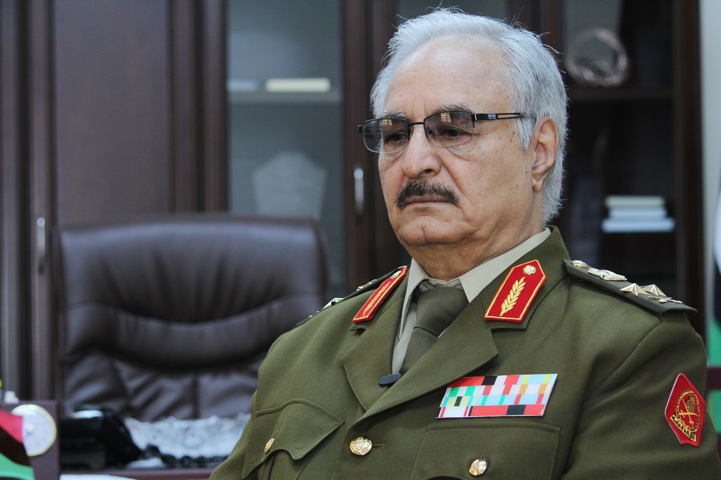 In this March 18, 2015 photo, Gen. Khalifa Hifter, Libya's top army chief, speaks during an interview with the Associated Press in al-Marj, Libya. (Mohammed El-Sheikhy/AP)