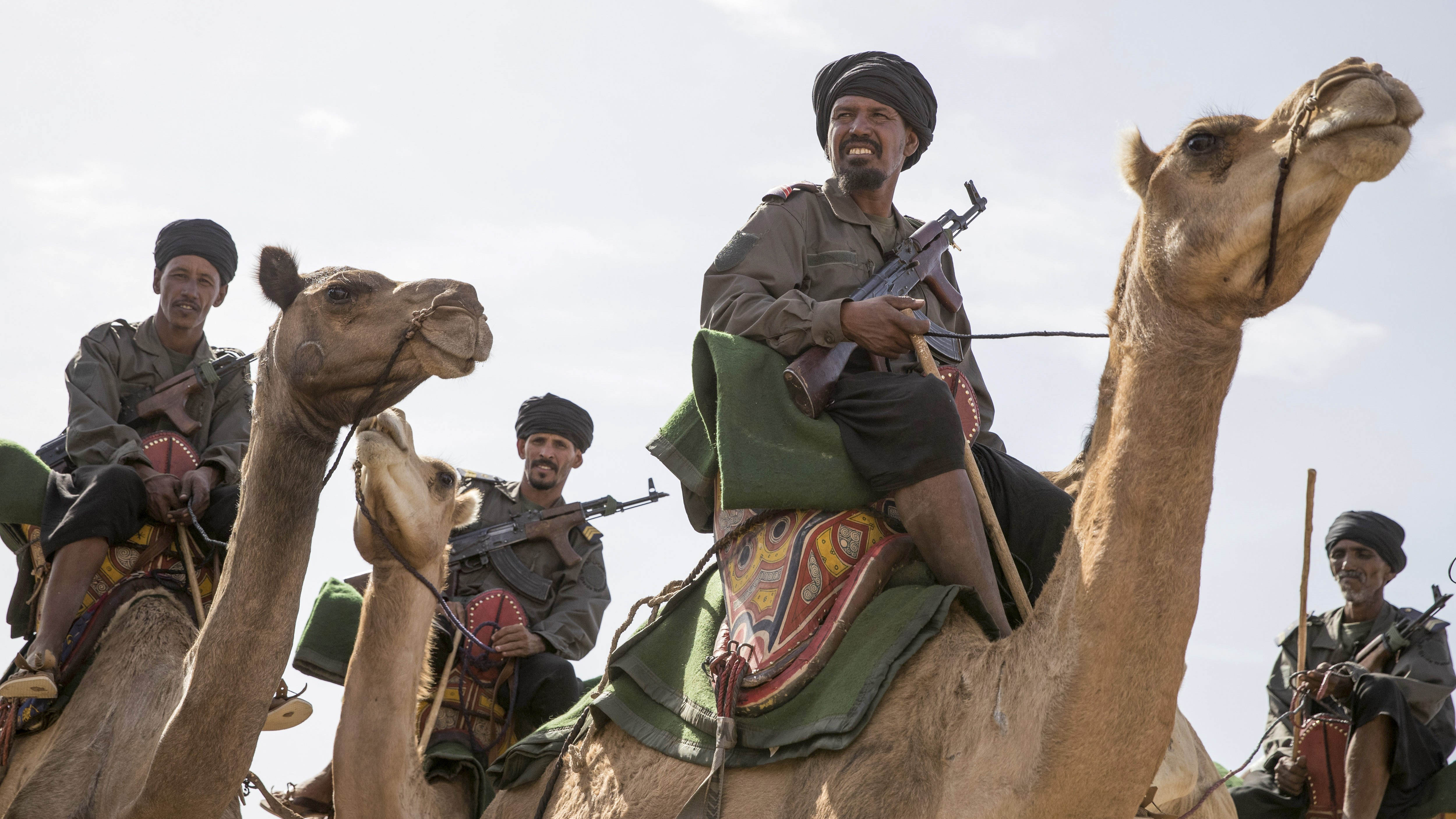 Meharists of the Mauritanian National Guard are seen on November 23, 2018, in Nema, southeast Mauritania, ahead of the National Day. (THOMAS SAMSON/AFP/Getty Images)