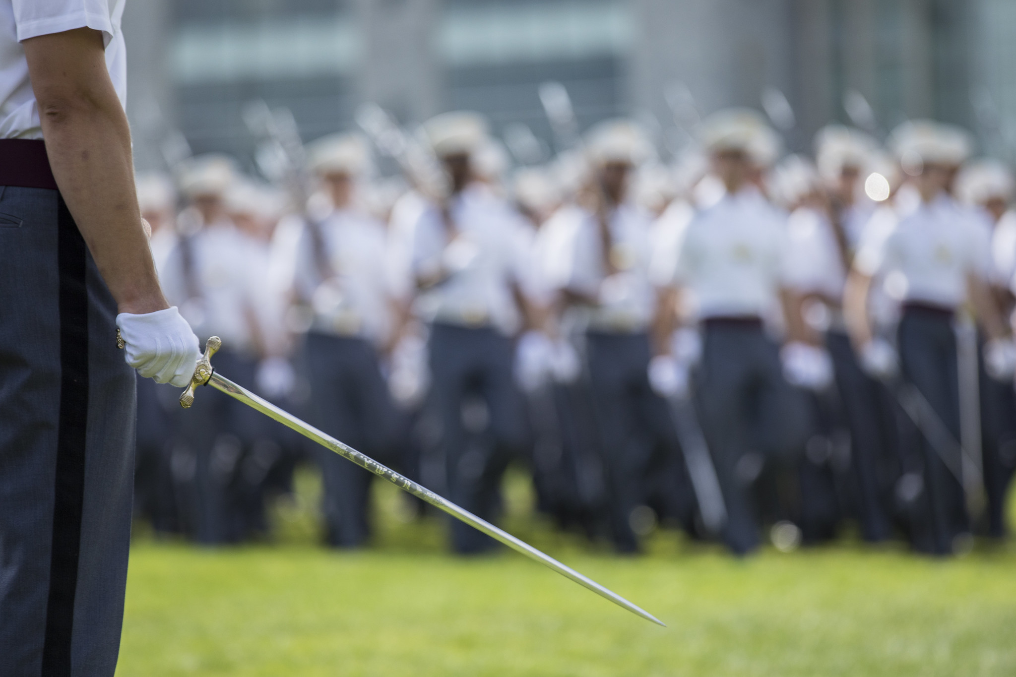 The U.S. Military Academy Corps of Cadets takes part in the review portion of the Acceptance Parade Aug. 17, 2019. The members of the Class of 2023 officially joined the Corps of Cadets during the parade. (Matthew Moeller/Army)