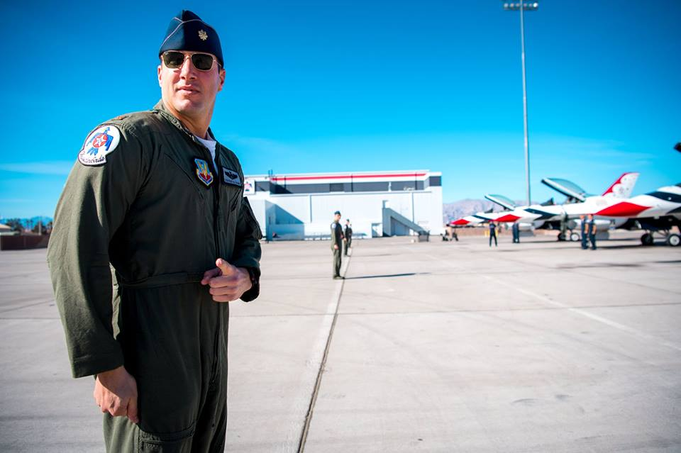 Thunderbirds pilot Maj. Stephen Del Bagno prepares to board his F-16 Fighting Falcon during a modified ground show practice at Nellis Air Force Base, Nevada, Jan. 26. Del Bagno was killed when his aircraft crashed on the Nevada Test and Training Range during a practice aerial demonstration on April 4. (Master Sgt. Christopher Boitz/Air Force)