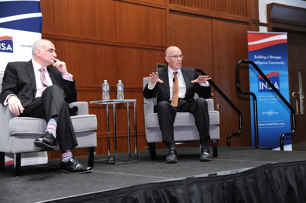George Barnes, deputy director of the National Security Agency (right), speaks at an INSA event in Arlington, Virginia in April. (Herman Farrer/INSA)