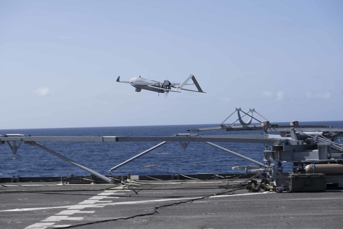 An Aerosonde MK 4.7 takes off from the flight deck of the Whidbey Island-Class Dock Landing Ship USS Gunston Hall. (Mass Communication Specialist 3rd Class Colbey Livingston / U.S. Navy)
