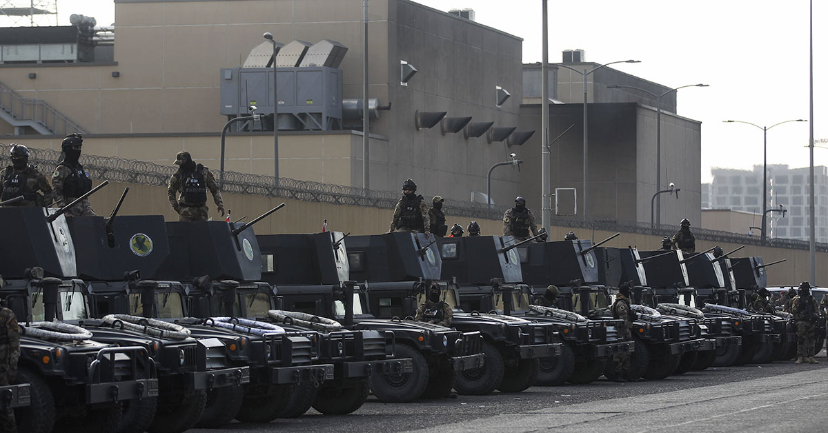 Iraqi security forces are deployed in front of the US embassy in the capital Baghdad, after an order from the Hashed al-Shaabi paramilitary force to supporters to leave the compound on January 1, 2020. - Thousands of Iraqi supporters of the largely Iranian-trained Hashed had encircled and vandalized the embassy compound, outraged by US air strikes that killed 25 fighters of the military network. (AHMAD AL-RUBAYE/AFP via Getty Images)