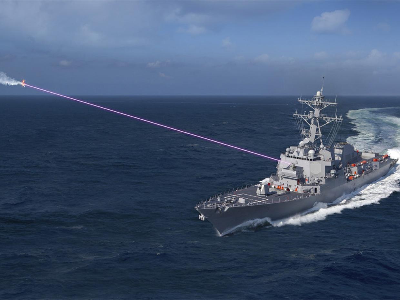 A Lockheed Martin image of a destroyer deploying a self-defense laser. (Lockheed Martin)