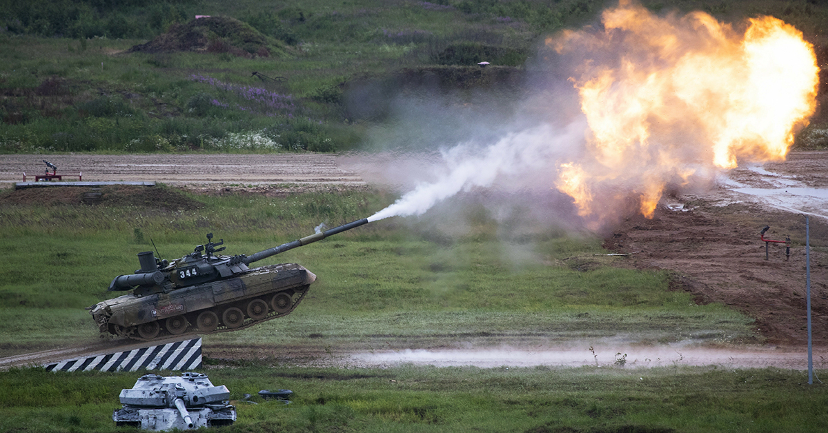 Russian T-80 tank fires during the International Military Technical Forum Army-2018 in Alabino, outside Moscow, Russia, Saturday, June 29, 2019. (AP Photo/Pavel Golovkin)