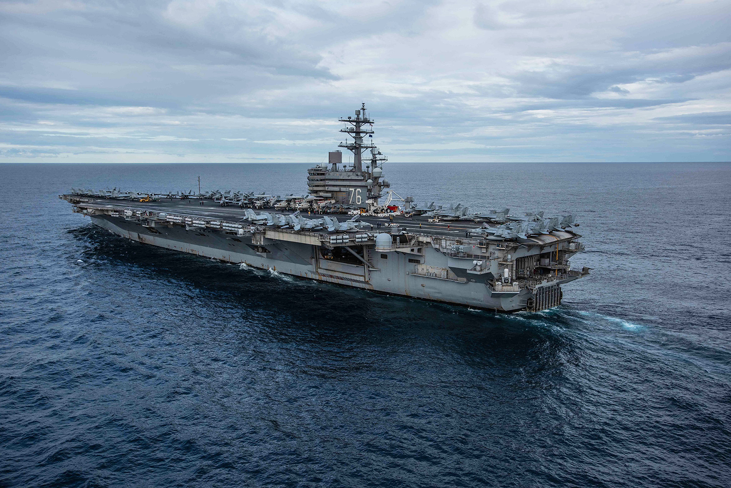 The Navy's forward-deployed aircraft carrier USS Ronald Reagan (CVN 76) cruises during Talisman Sabre 2019 on July 22, 2019, in the Coral Sea. (Mass Communication Specialist 2nd Class Kaila V. Peters/Navy)