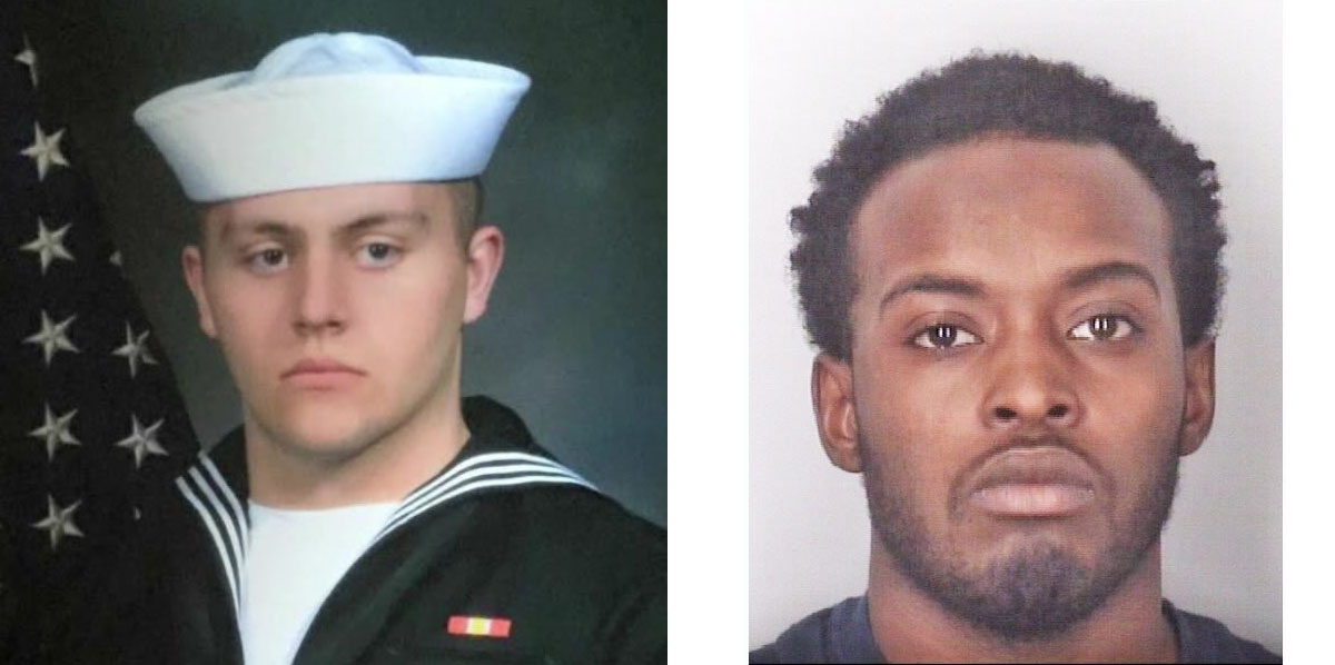 Authorities say that Machinist's Mate (Nuclear) 3rd Class Donald Alton Thorington, left, was shot to death by Aviation Ordnanceman Airman Dalen Spence. (Photos courtesy of the Thorington family and the Portsmouth Police Department)