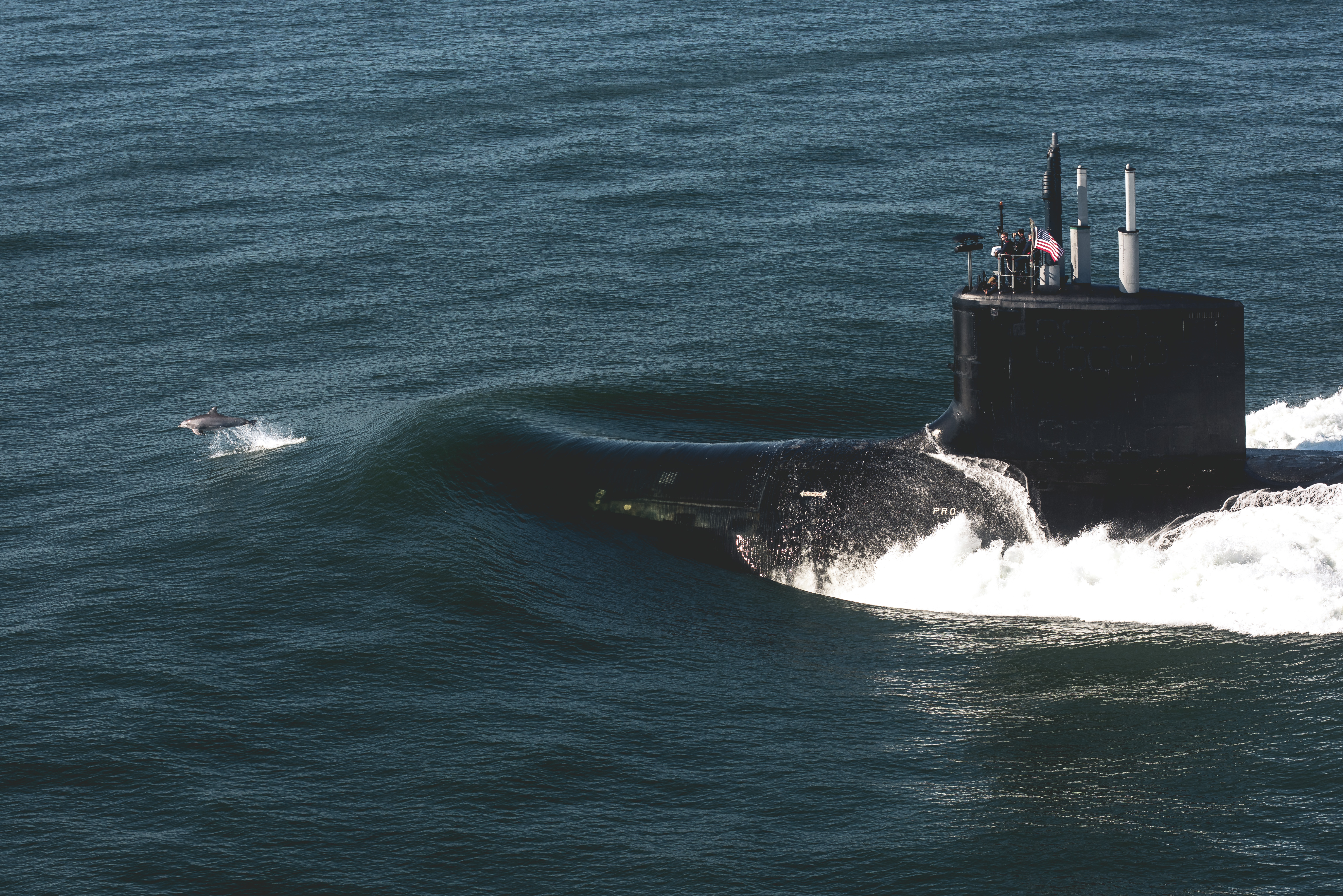 The Virginia-class attack submarine Delaware transits the Atlantic Ocean after departing Huntington Ingalls Industries' Newport News Shipbuilding division during sea trials in August 2019. (Courtesy of Huntington Ingalls Industries)