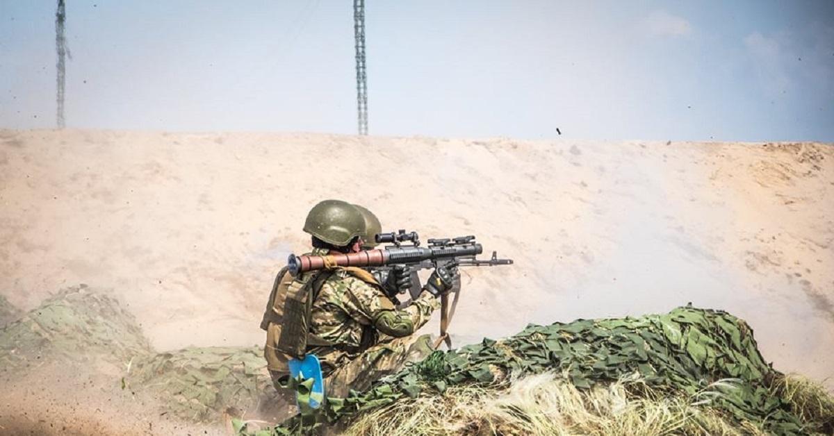 Ukrainian National Guard troops based around Kiev, Ukraine, train with the PSRL-1 rocket-propelled grenade launcher May 7. (Facebook/Ukrainian National Gaurd)