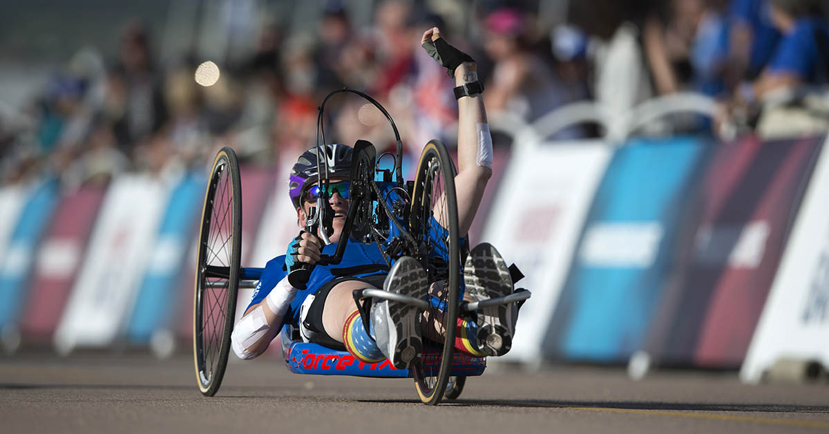 Team Air Force Master Sgt. Lisa Goad reacts to finishing the 2018 DoD Warrior Games cycling competition at the Air Force Academy in Colorado Springs, Colo. June 6, 2018. (EJ Hersom/DoD)