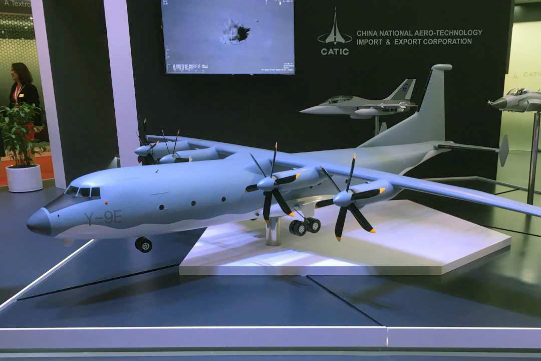 A model of the Shaanxi Y-9E airlifter was shown off by China National Aero-Technology Import & Export Corporation. The type has recently seen a dramatic ramp-up in production. (Mike Yeo/Staff)