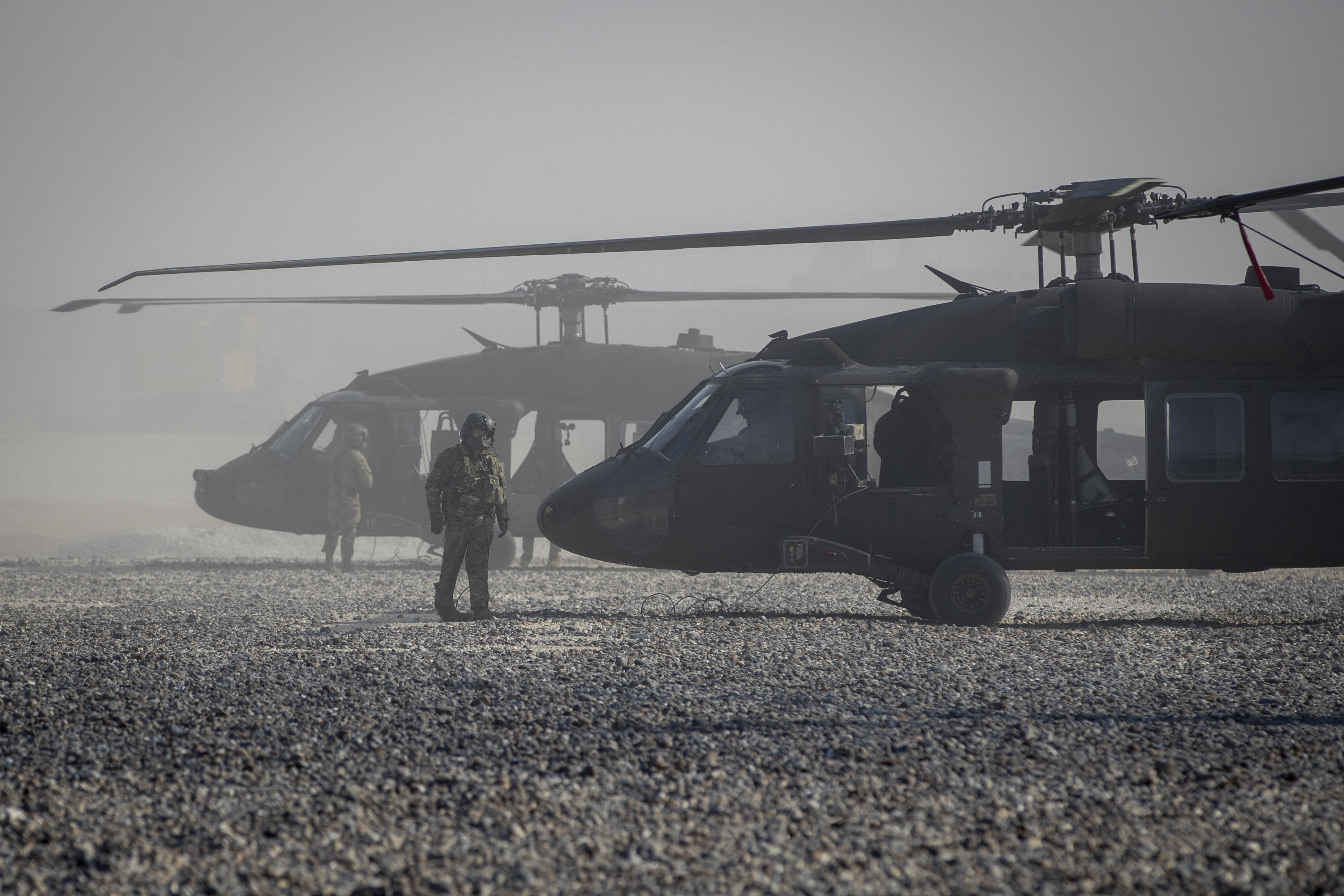 Black Hawk helicopters are parked at a U.S. military base at undisclosed location in eastern Syria, Monday, Nov. 11, 2019. (Darko Bandic/AP)