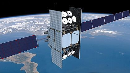 Here's an artist's rendition of a Wideband Global Satellite in orbit. Industry officials want to know what role commercial satellite providers could play in the program's next iteration. (Air Force Space Command)