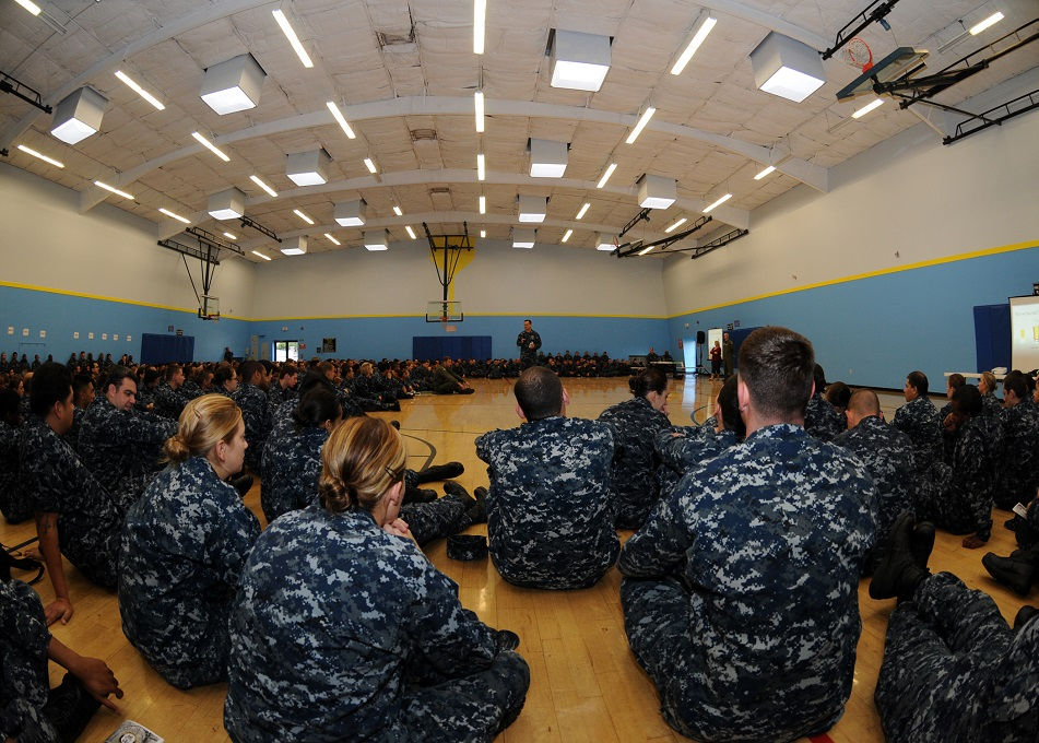 Sailors assigned to Makin Island attend a holiday safety brief at Naval Base San Diego. (Navy)