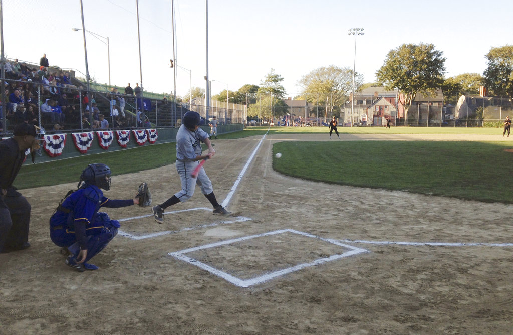 U.S. Naval War College students play in an Army versus Navy baseball game Friday, Sept. 29, 2017, in Newport, R.I. (Jennifer McDermott/AP)