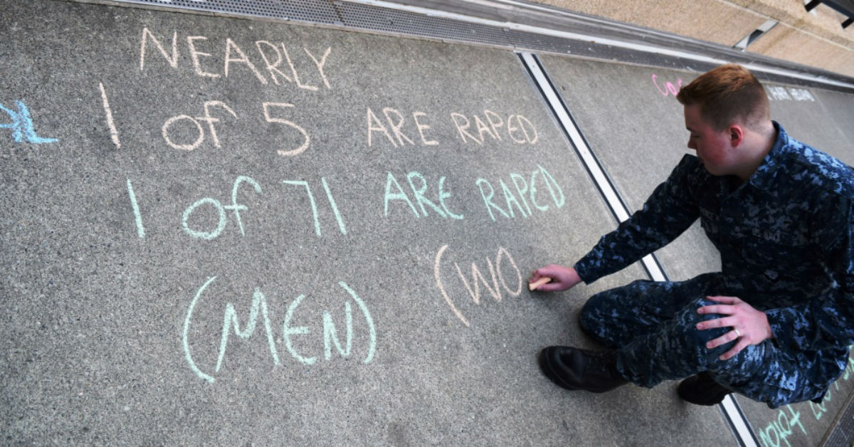 Navy Hospitalman Mason L. Spence is shown here taking part in a Naval Hospital Bremerton sexual assault awareness event in April 2017. Spence was court-martialed and imprisoned earlier this year on attempted sexual abuse of a minor charges. (Navy)