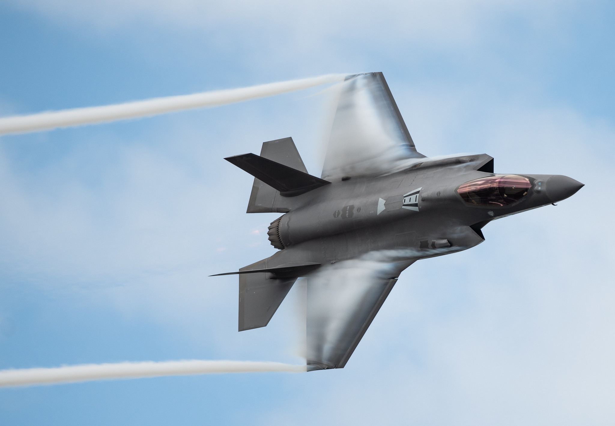 """U.S. Air Force Capt. Andrew """"Dojo"""" Olson, F-35 Demonstration Team pilot and commander, performs a dedication pass during the Melbourne Air and Space Show in Melbourne, Fla., March 30, 2019. (Senior Airman Alexander Cook/Air Force)"""