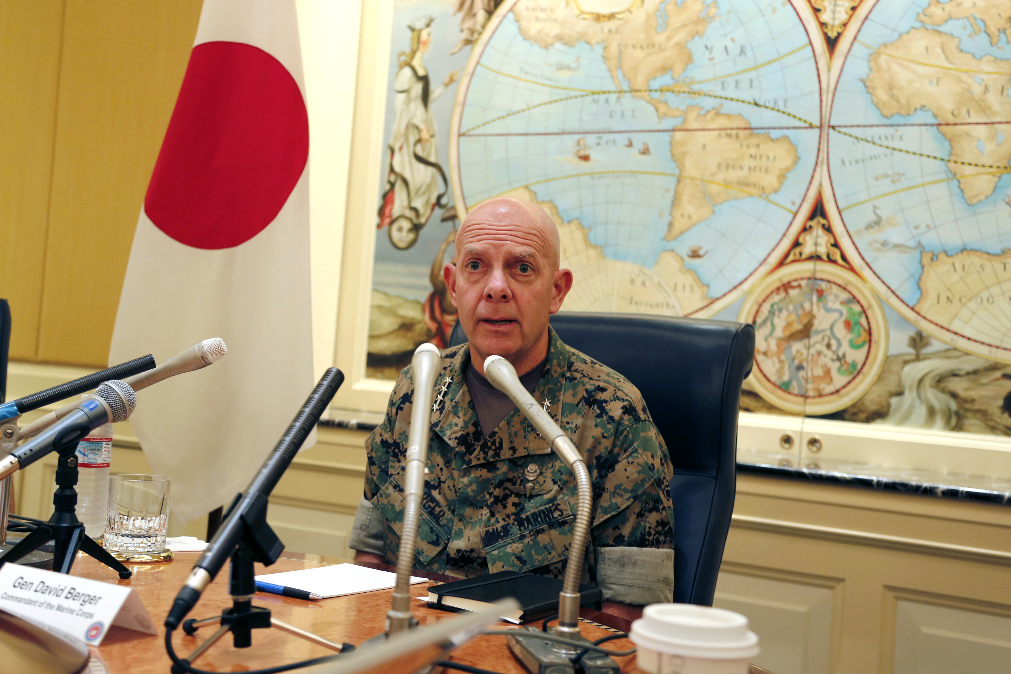 Gen. David Berger, the new U.S. Marines commandant, speaks during a press conference in Tokyo, Wednesday, Aug. 21, 2019. (Yuri Kageyama/AP)