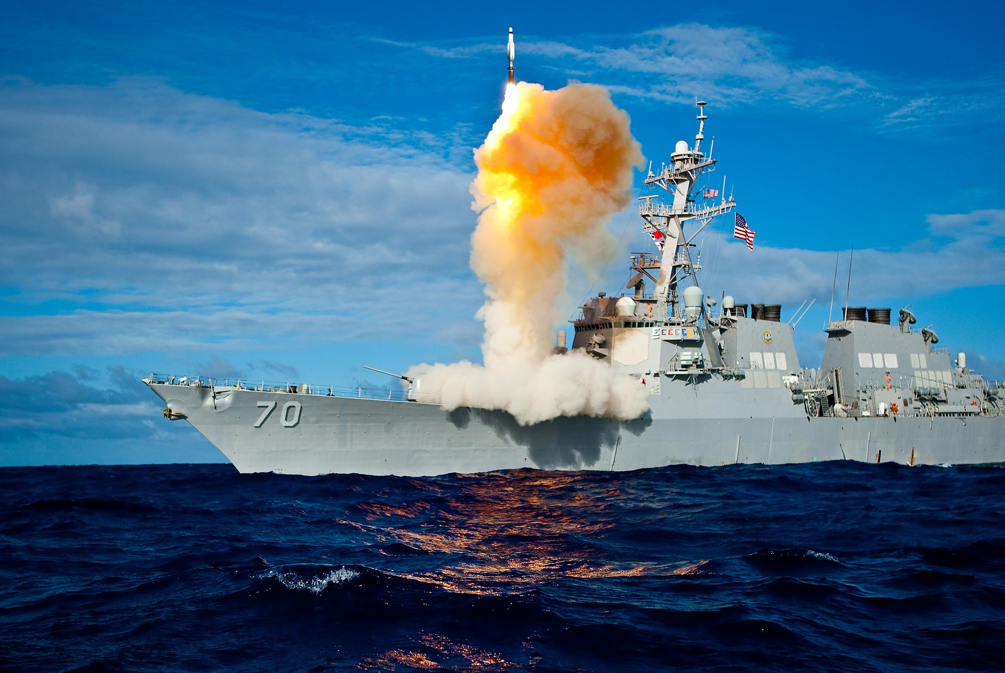 During exercise Stellar Avenger, the U.S. Navy Aegis-class destroyer Hopper launches a Standard Missile-3 Block IA. (Courtesy of the U.S. Navy)
