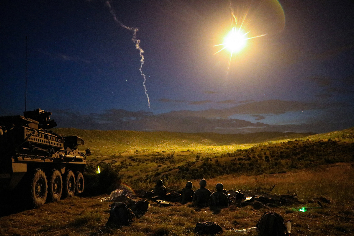 Soldiers conduct a night live-fire iteration of a Combined Arms Live Fire Exercise during Exercise Decisive Strike 2019 at the Training Support Centre, Krivolak, North Macedonia, June 11, 2019. (Staff Sgt. Frances Ariele Tejada/Army)