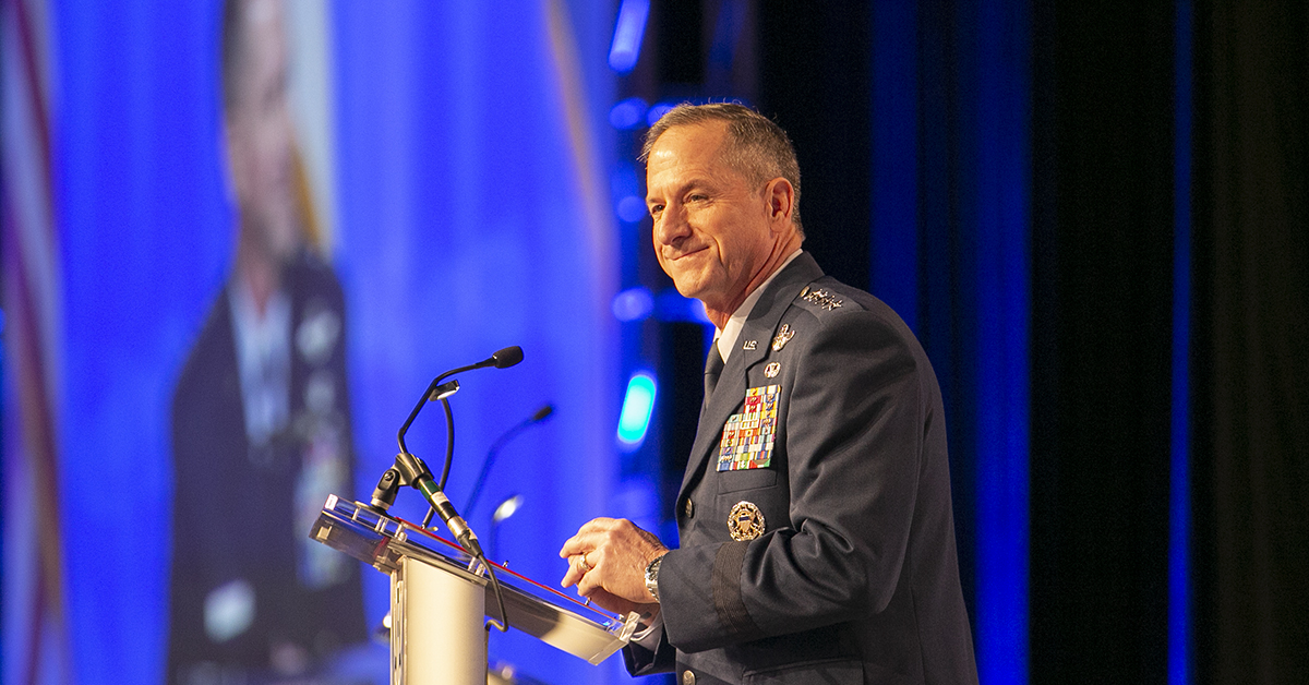 Gen. David Goldfein gives the Air Force update during the Air Force Association's Air, Space & Cyber conference held at the Gaylord National Resort & Conference Center in Oxon Hill, MD. (Alan Lessig/Staff)