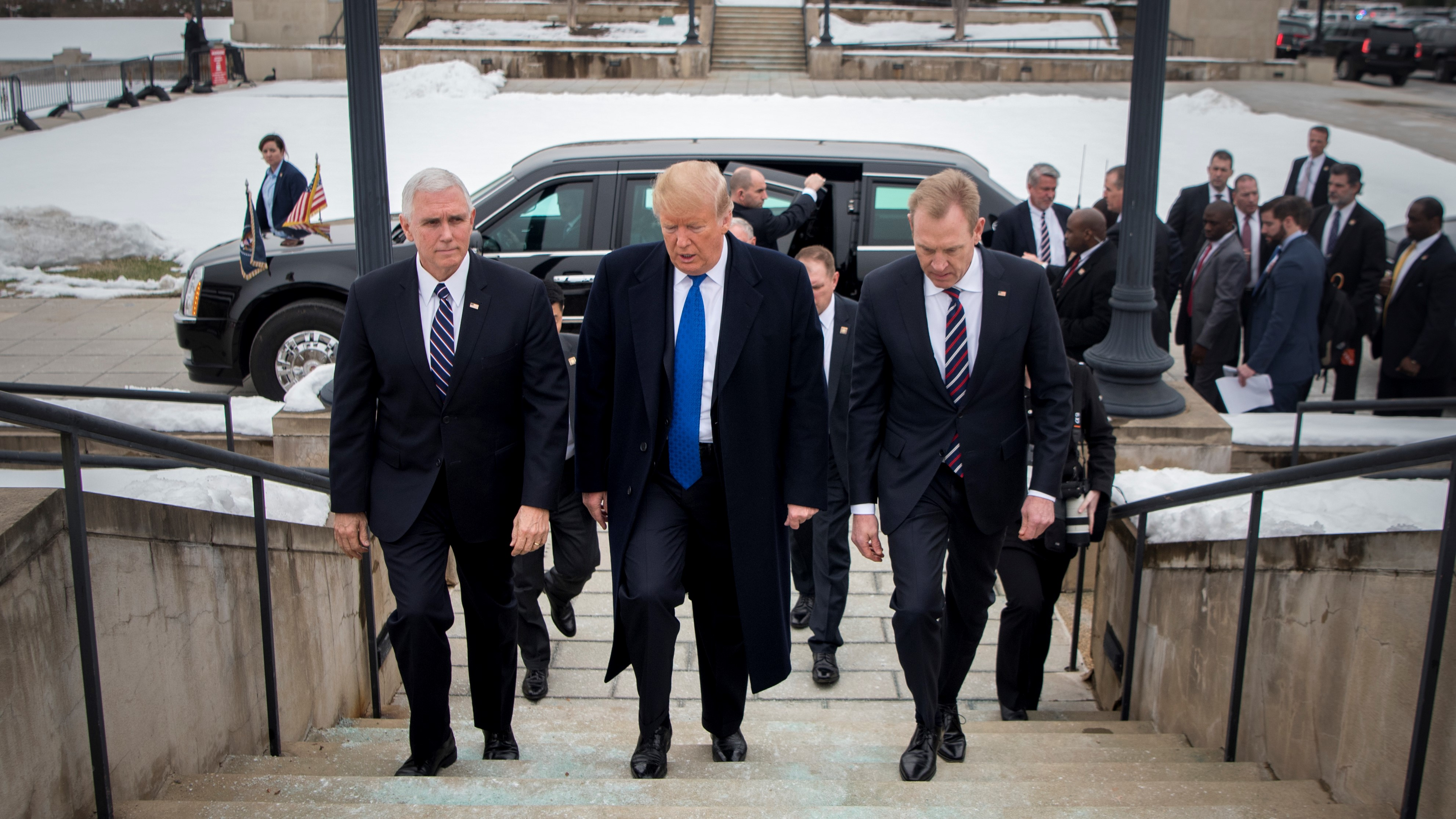 U.S. President Donald Trump and Vice President Mike Pence is greeted by U.S. Acting Secretary of Defense Patrick M. Shanahan as they arrive at the Pentagon, Jan 17, 2019. (DoD photo by Tech Sgt. Vernon Young Jr.)