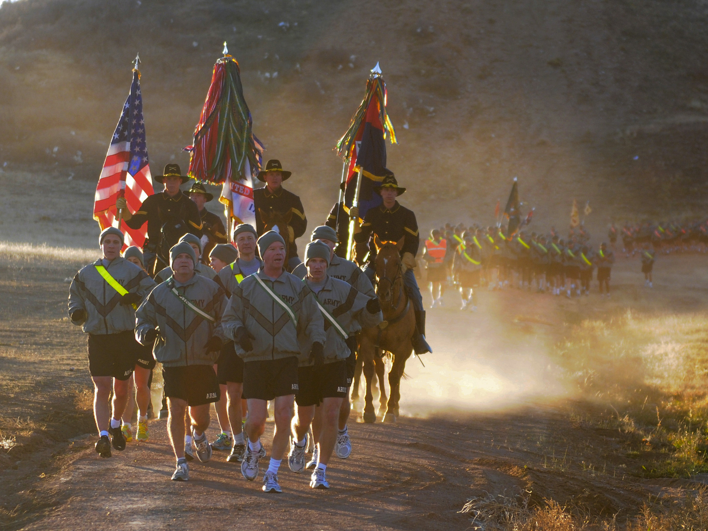 Maj. Gen. David Perkins, division commander, 4th Infantry Division, leads the division run at Fort Carson in April 2010. (Staff Sgt. Craig Cantrell/Army)