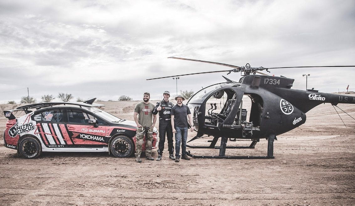 Black Rifle Coffee and Travis Pastrana, center, joined forces for a stunt that will be hard to top. (Carlos Torrejon)