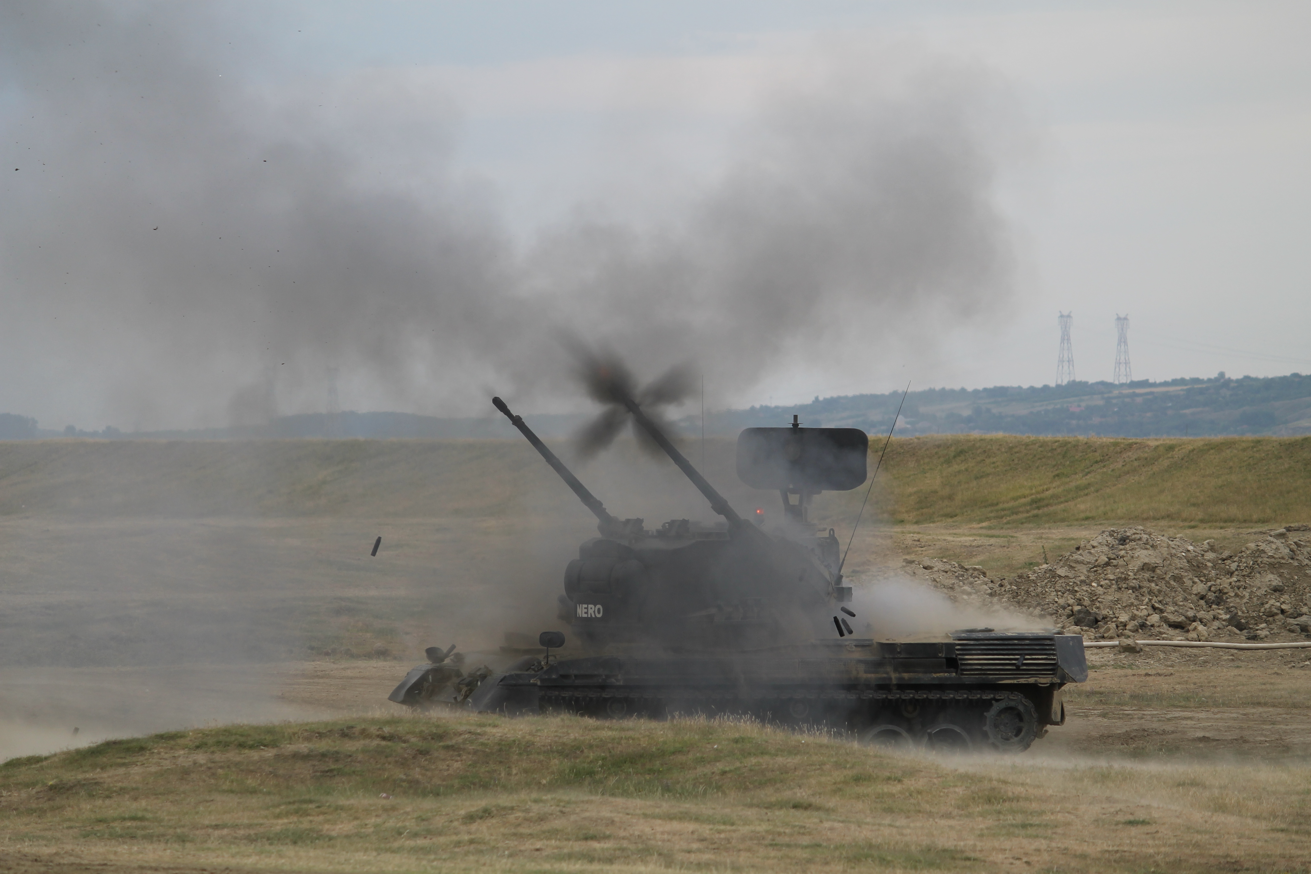 A Gepard short-range air defense system fires on the banks of the Danube. Romania was provided systems from Germany and now it's a critical system as countries in the region seek to deter Russian aggression. Lt. Gen. Ben Hodges, U.S. Army Europe commander, has lamented the lack of SHORAD capability in the U.S. Army. To shore up the gap in Europe, some National Guard Avenger units will deploy on a rotational basis starting this fall. Countries like Romania with resident SHORAD capability also help to fill that gap. (Jen Judson/Staff)