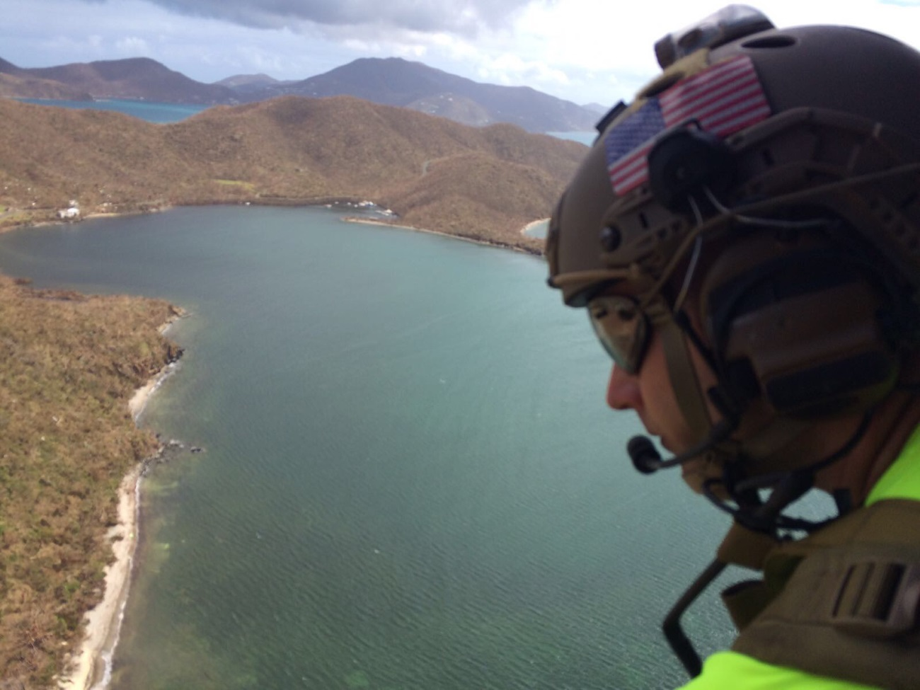 Five airmen from the Kentucky Air National Guard's 123rd Special Tactics Squadron conduct search-and-rescue missions on St. John, U.S. Virgin Islands, Sept. 9, 2017, in conjunction with the Kentucky Army National Guard's 63rd Theater Aviation Brigade. The airmen have controlled multiple helicopter landing zones and evacuated numerous victims by hoisting them to Kentucky Army Guard UH-60 Black Hawk helicopters for evacuation. (Air National Guard)