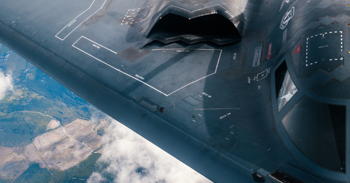 A B-2 Spirit from the 509th Bomb Wing refuels over the United Kingdom Aug. 29. (Staff Sgt. Jordan Castelan/Air Force)